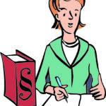 Eine Frau schreibt auf einen Zettel. Neben der Frau steht ein Buch. Es ist ein Buch mit Regeln.