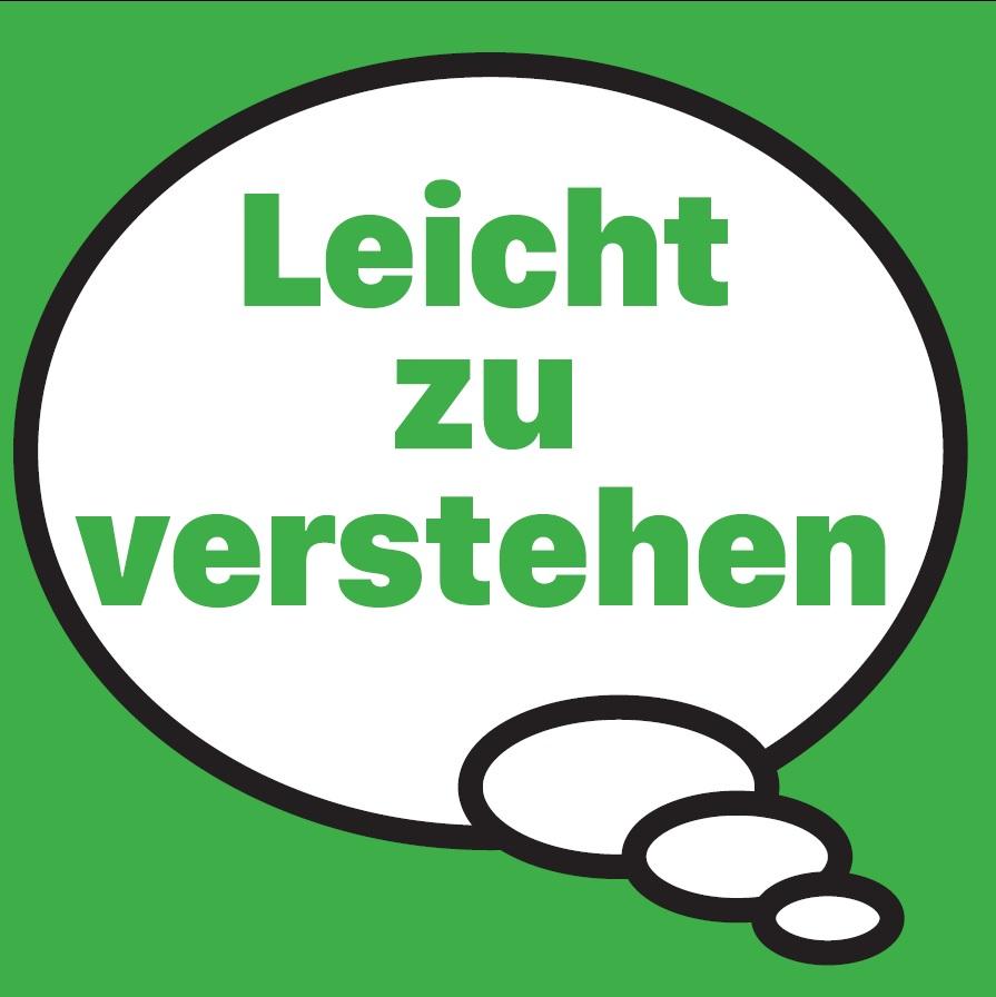 """Gedankenblase auf grünem Hintergrund mit der Aufschrift """"Leicht zu verstehen"""""""