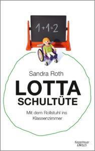Buchcover. Playmobil: Mädchen im Rollstuhl vor Schultafel. Titel des Buches