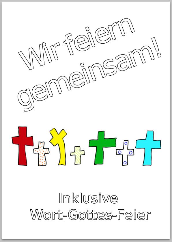 Einladungsplakat mit farbigen und unterschiedlich großen Kreuzen