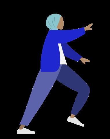 weit ausschreitende Frau mit ausgestrecktem Arm, schlichte Grafik