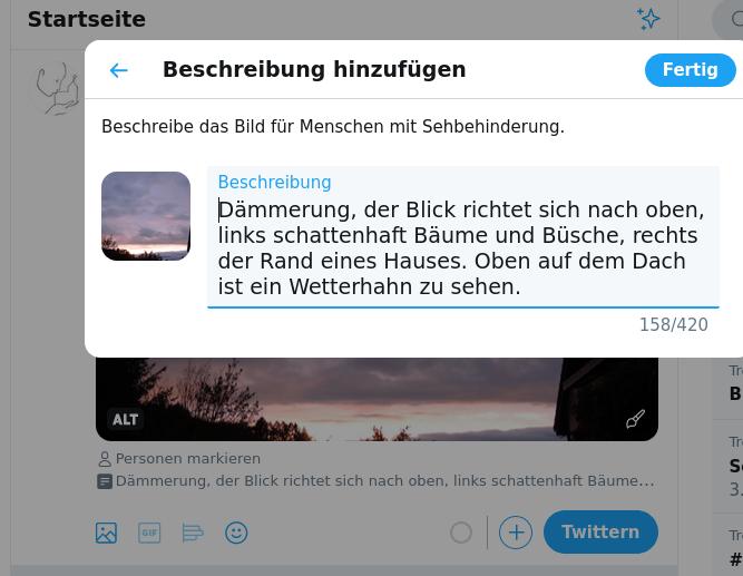 """Bildschirmfoto, nachdem ich auf """"Bildbeschreibung hinzufügen geklickt habe. Das Fenster mit dem Feld für die Bildbeschreibung legt sich über das Bild, das noch klein links zu sehen ist."""